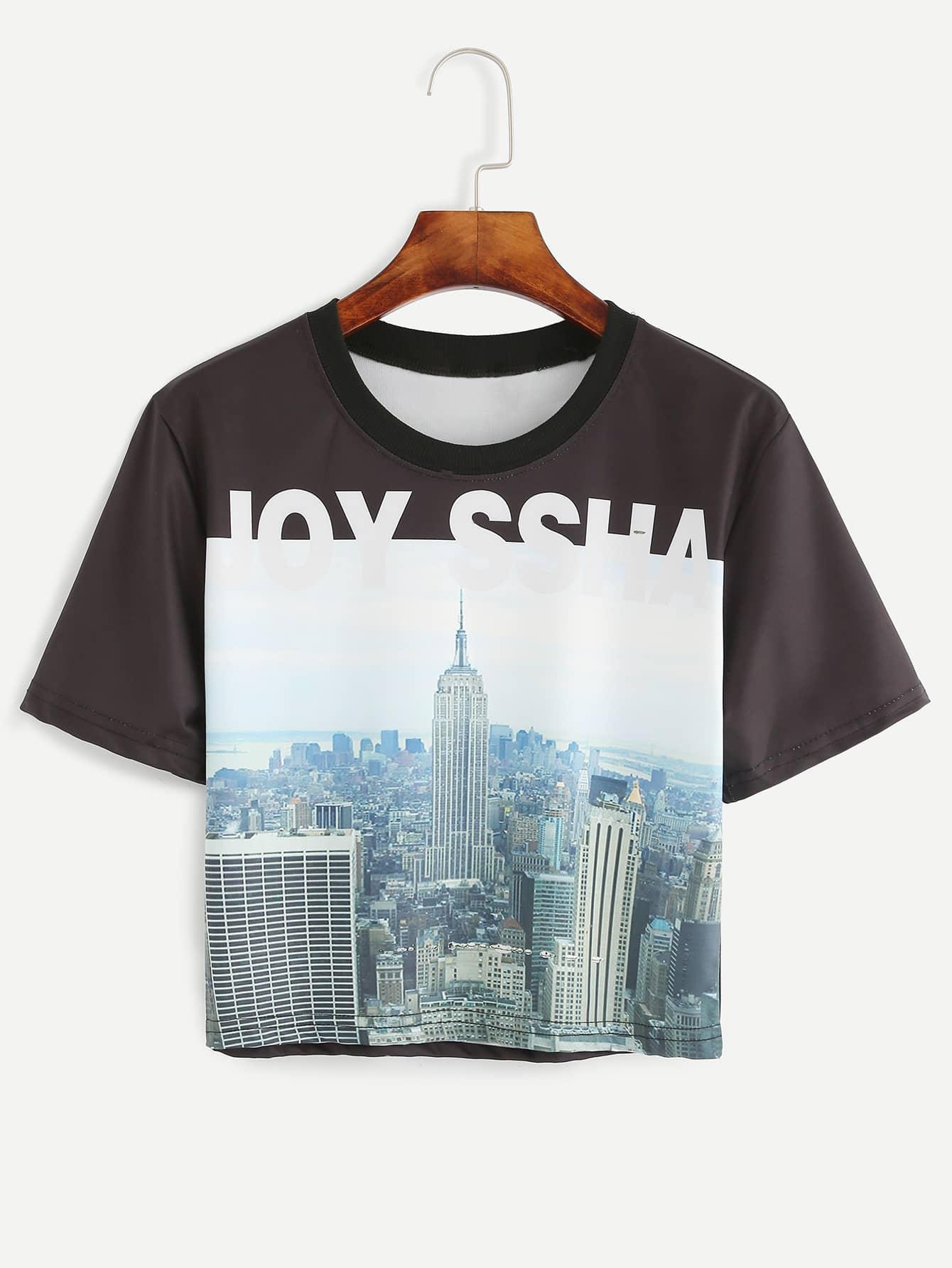 Black city view print t shirt shein sheinside for Vista print tee shirt
