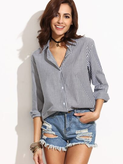 Grey Vertical Striped Blouse