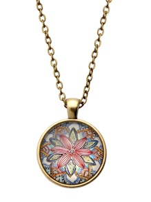 Bronze Flower Print Glass Pendant Necklace