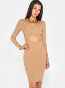 Criss Cross Cut Out Dress TAUPE