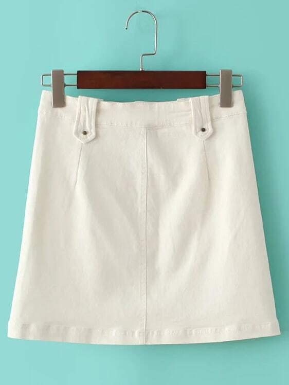 white buttons front pockets a line skirt shein sheinside