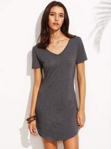 Heather Grey Curved Hem T-shirt Dress