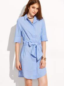 Blue Lapel Roll-up Cuff Bow Dress