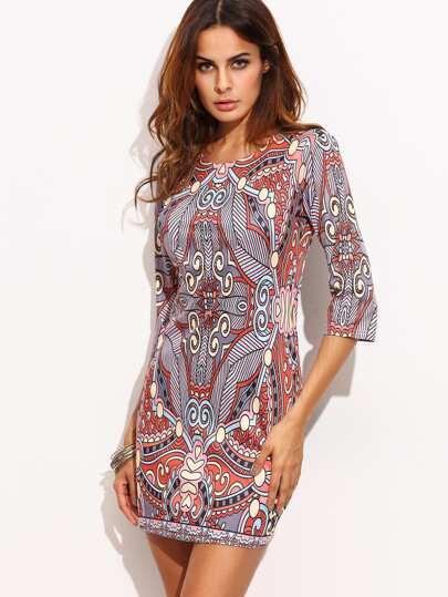 Colorful Ornate Print Bodycon Dress