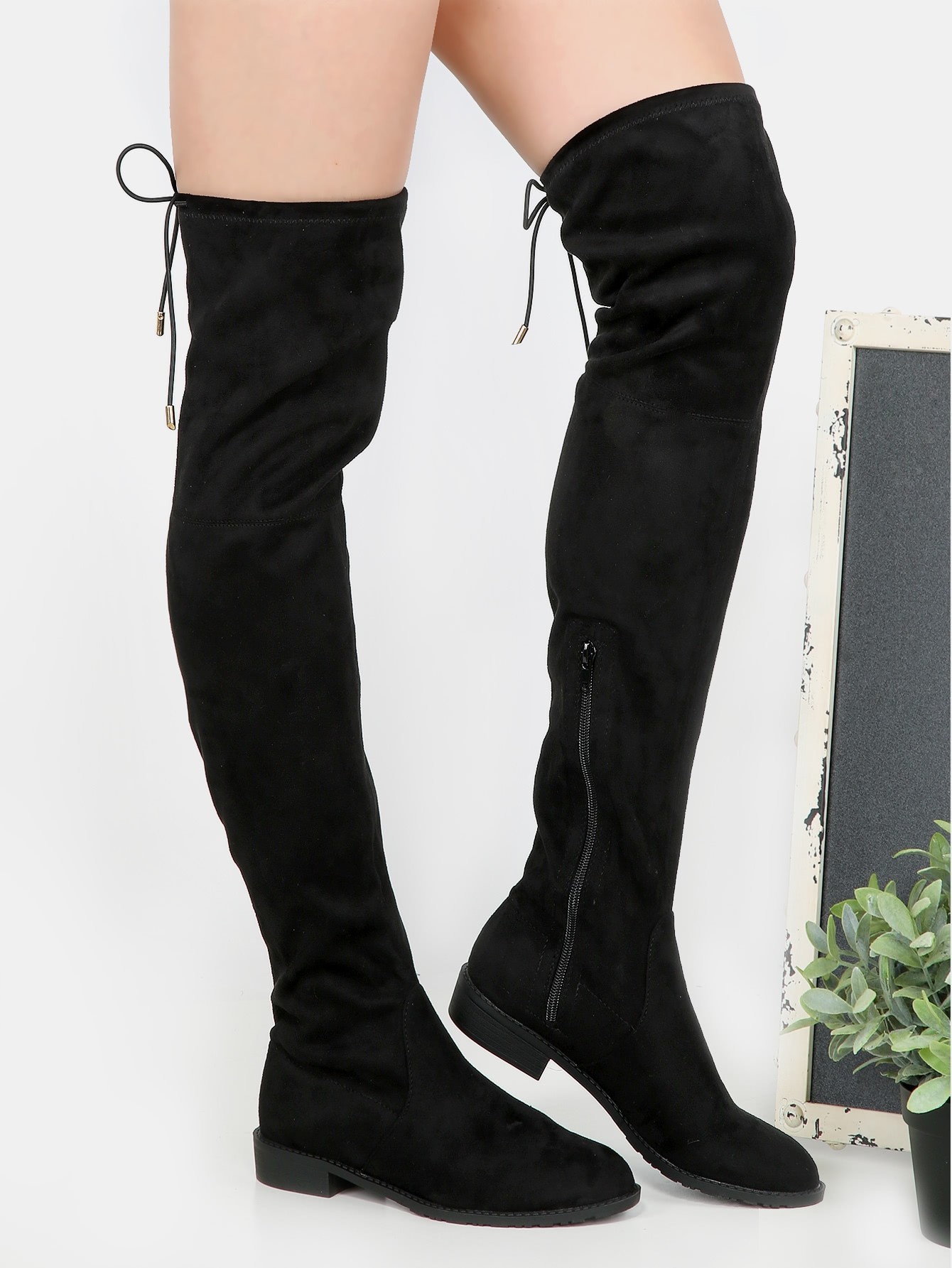 Flat Heel Thigh High Boots BLACK -SheIn(Sheinside)
