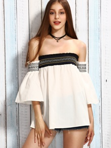 White Smocked Off The Shoulder Bell Sleeve Top
