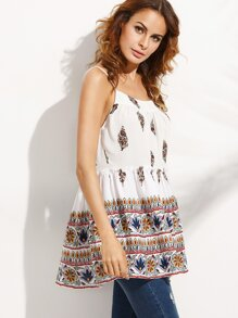 Multicolor Print Ruffle Backless Cami Top