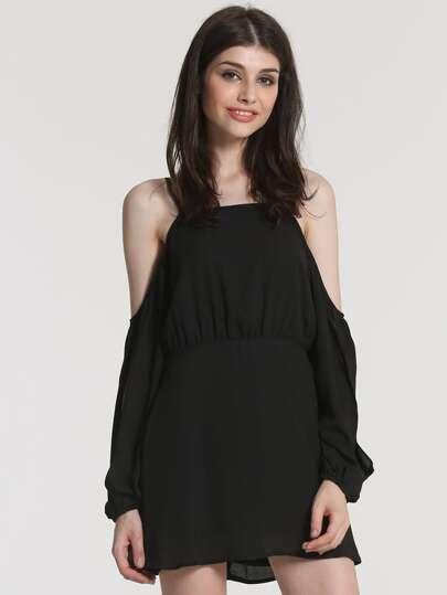 Black Spaghetti Strap Off The Shoulder Dress