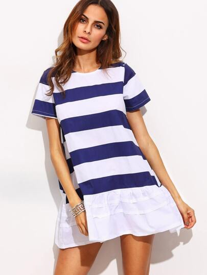 Blue White Striped Ruffle Hem Dress