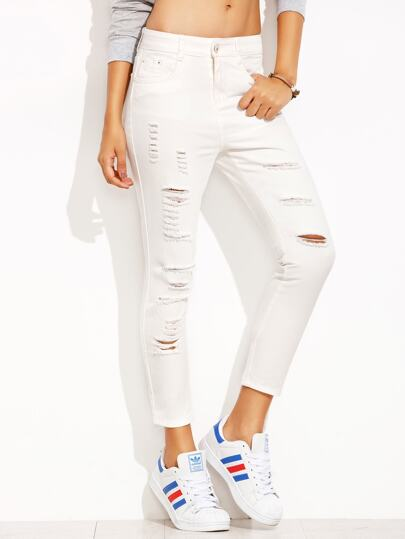 White Ripped Skinny Ankle Jeans