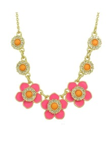 Pink Enamel Statement Flower Necklace