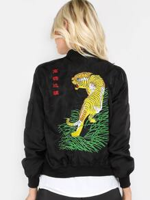 Embroidered Tiger Bomber Jacket BLACK