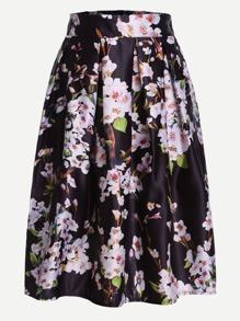 Black Peach Blossom Print Box Pleated Skirt