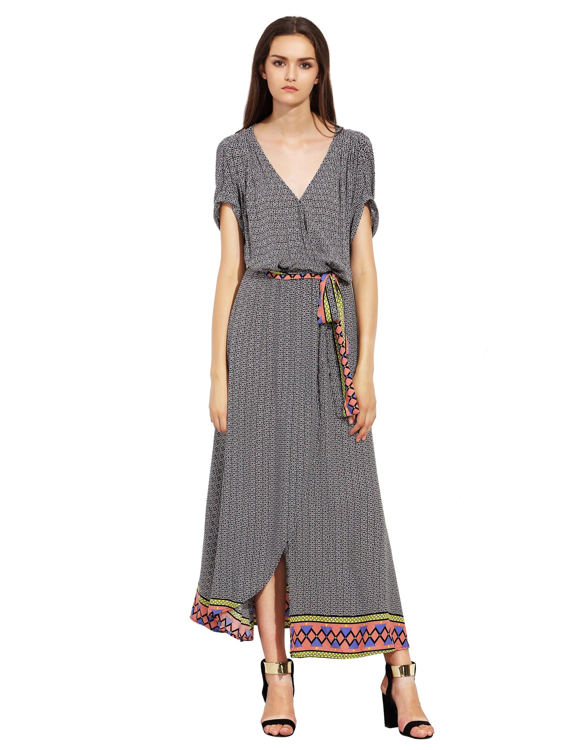Фото Rolled Sleeve Geometric Print Split Maxi Dress. Купить с доставкой