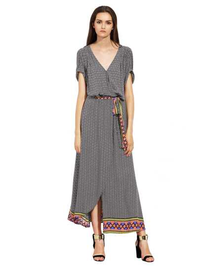 Grey Blue Short Sleeve Geometric Print Split Maxi Dress