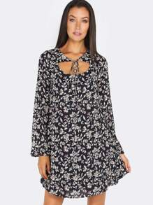 Bow Tie Floral Shift Dress NAVY