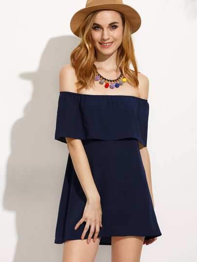 Off Shoulder Layered Frill Dress