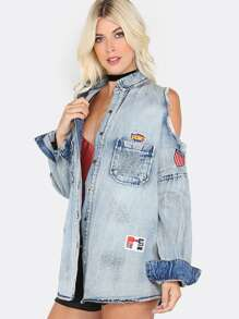 Acid Wash Cold Shoulder Denim Jacket DENIM