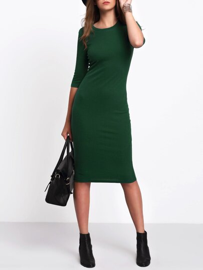 Green Half Sleeve Casual Midi Dress
