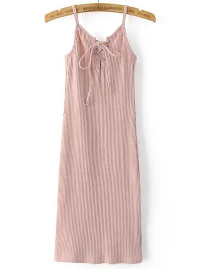 Розовое платье со шнуровкой на бретельках