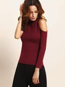Burgundy High Neck Asymmetrical Sleeve Knitted T-shirt