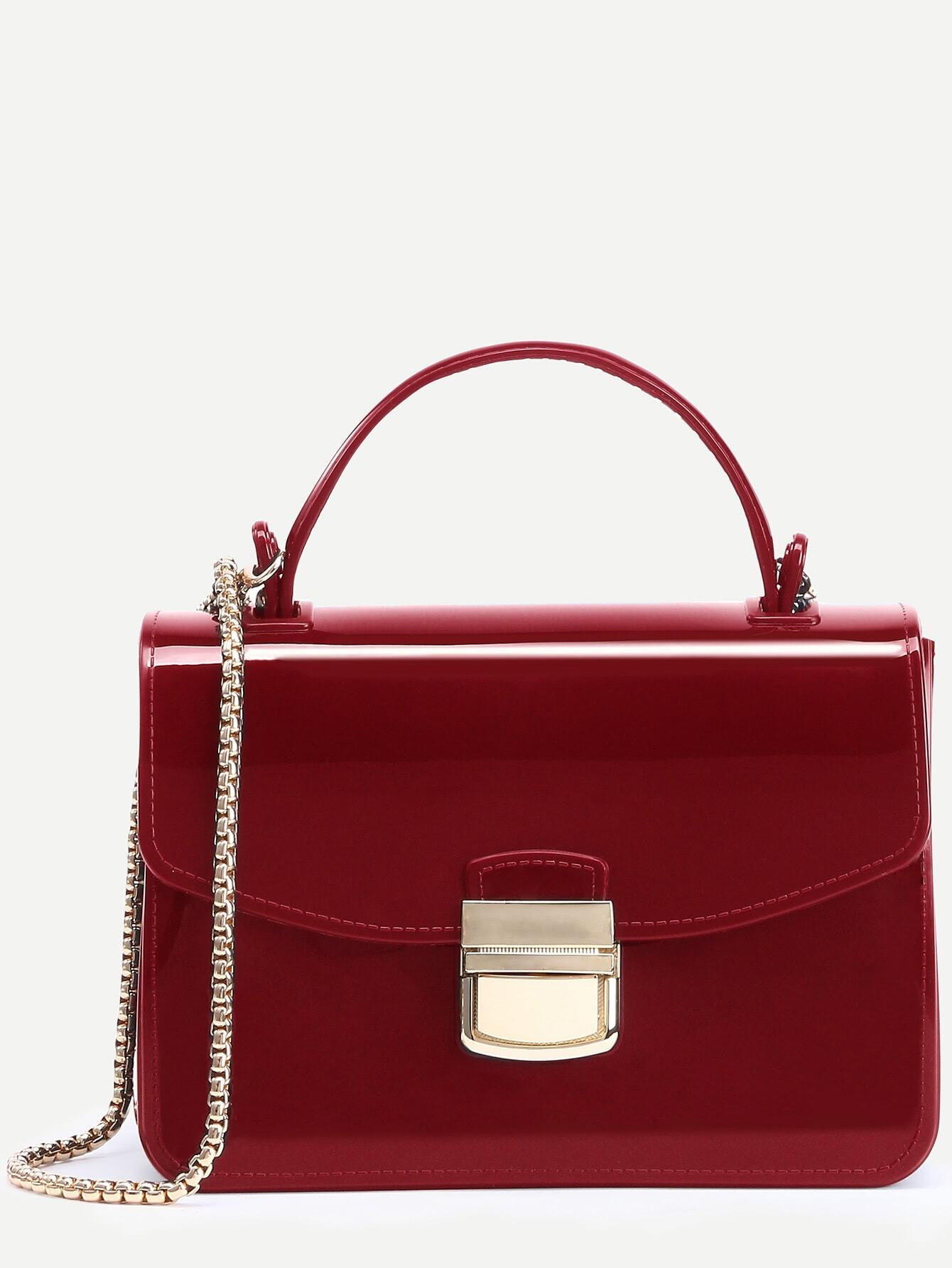 Red Pushlock Closure Plastic Handbag With Chain Image