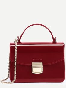 Red Pushlock Closure Plastic Handbag With Chain