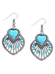 Heart Turquoise Embellished Leaf Drop Earrings