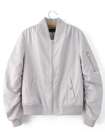 Jacket cremallera bolsillo - gris