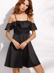 Black Cold Shoulder Fold Over Ruffle A Line Dress