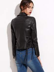 Black Lapel Zipper Lace Up Jacket