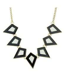Black Enamel Geometric Statement Necklace