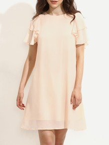 Pink Ruffle Sleeve Button Back Shift Dress