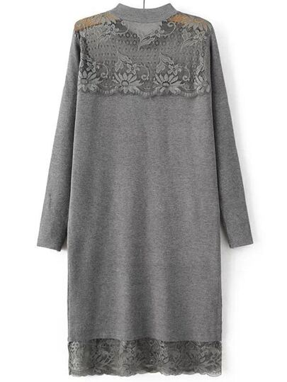 Grey Band Collar Lace Long Sweater