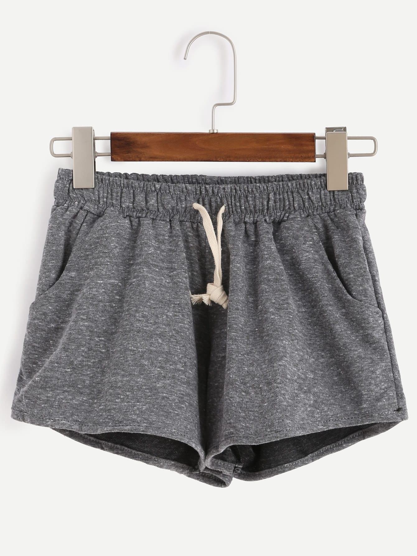 Marled Knit Drawstring Waist Shorts