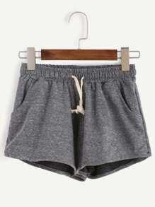 Grey Marled Knit Drawstring Shorts
