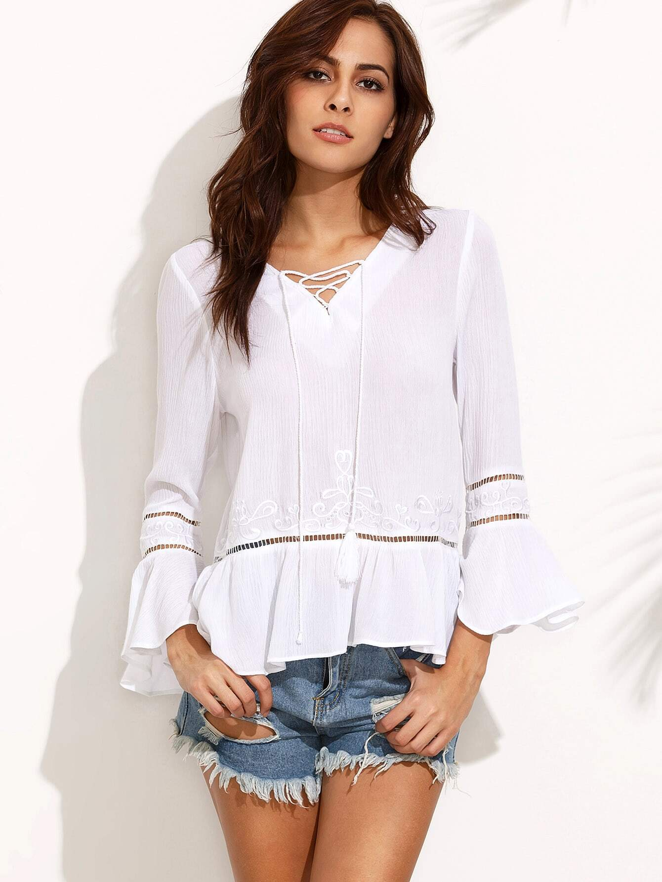 White Embroidered Lace Up Front Ruffle Hem Blouse