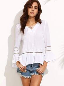 Embroidered Lace Up Front Frill Hem Blouse
