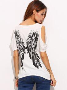 Ivory Open Shoulder Wings Print Back T-shirt