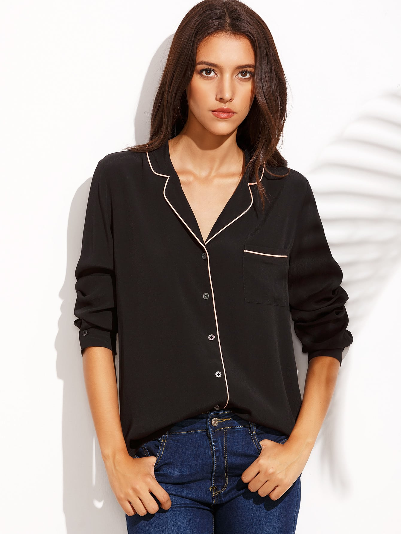 Black Lapel Button Front Long Sleeve BlouseBlack Lapel Button Front Long Sleeve Blouse<br><br>color: Black<br>size: L,M,S,XS