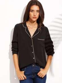 Black Lapel Button Front Long Sleeve Blouse