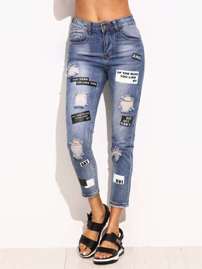 Blue Ripped Letter Print Skinny Ankle Jeans
