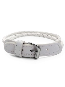 White Braided Buckle Bracelet