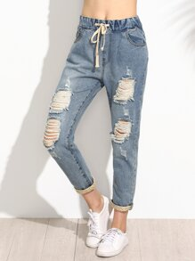 Blue Ripped Polka Dot Lined Drawstring Jeans