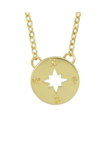 Gold Plated Round Pendant Necklace