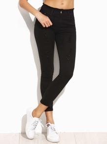 Чёрные облегающие рваные джинсы