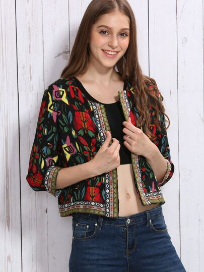 Black Flower Print Outerwear With Embroidered Tape Detail