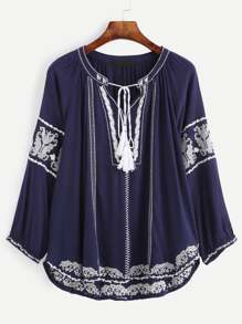 Navy Tasseled Tie Neck Embroidered Blouse