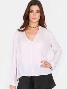 Lightweight V-Neck Blouse LILAC