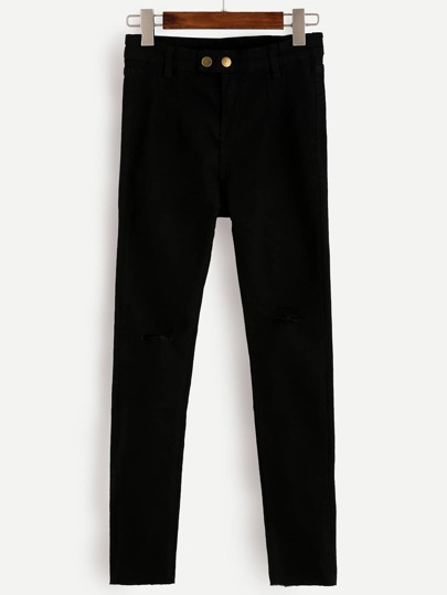 Black Two Button Skinny Jeans